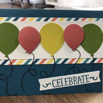 """Celebrate"" Green/Pink/Yellow 5Balloons"