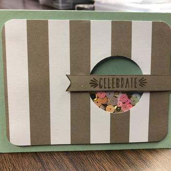 """Celebrate"" Taupe Stripe Shaker"