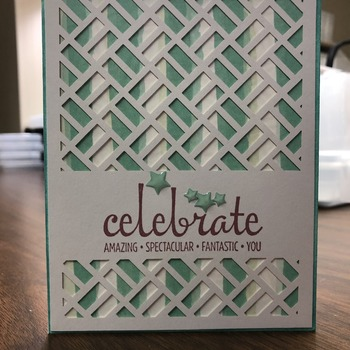 """Celebrate"" Lattice Teal/White Stripes"