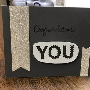 """Congrats"" Grey/White You Cut-out"