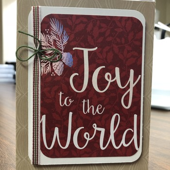 """Christmas"" Large Joy to the World in Red on Taupe"
