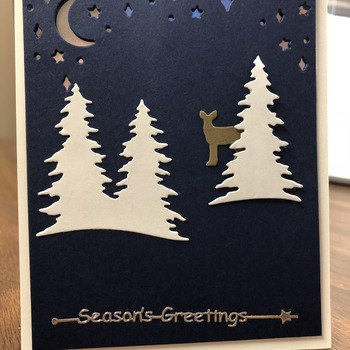 """Christmas"" Three Trees and Deer on Navy"