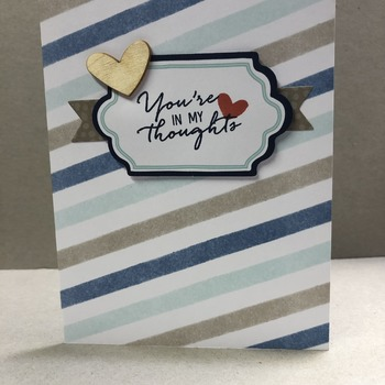 """Thinking of You"" Taupe/Navy Stripes Wooden Heart"