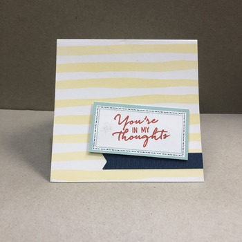 """Thinking of You"" Yellow Horizontal Stripes Navy Banner"
