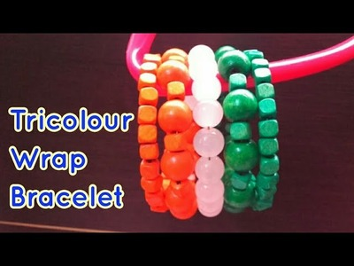 Tricolour Wrap Bracelet using memory wire, wood and glass beads for Republic Day or Independance DIY