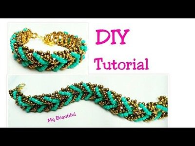 #15 DIY pulsera dorada y aguamarina. How to make