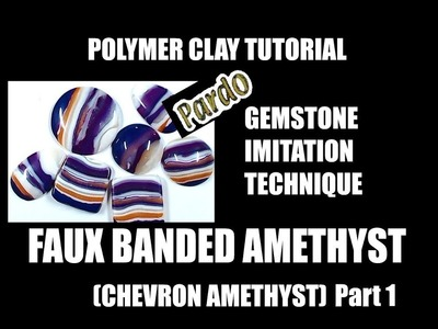 239 Polymer clay tutorial - faux chevron amethyst - part 1