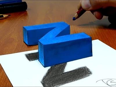 3D Trick Art on Paper Floating letter Z, Long Version