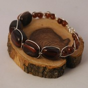 Beaded Wire Bracelet Tigers Eye Brown Round Beads Accessories Handmade Jewelry
