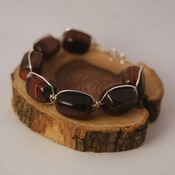 Beaded Wire Bracelet Tigers Eye Brown Beads Accessories Handmade Small Sized