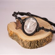 Black Quartz Bracelet Wire Round Crystal Stone Bangle Accessories Handmade