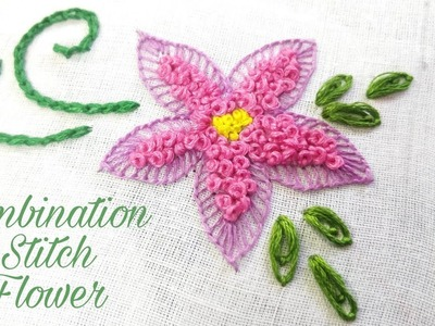 Combination Stitch Flower Work (Various Hand Embroidery Stitches)