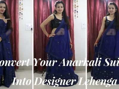 DIY Convert Your Anarkali Suit Into Designer Lehenga
