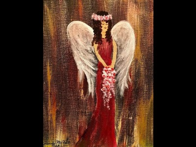 DIY Dry Brush, Palette Knife Acrylic Painting Lesson Angel in Red