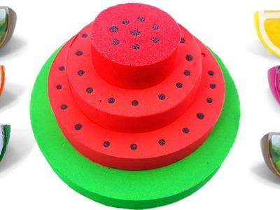 DIY How to make Kinetic Sand Watermelon Cake for Kids