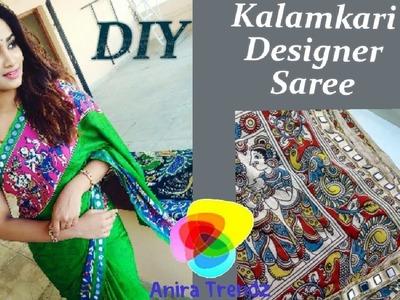 DIY Make your own Designer Saree at Home. Pagal Nilavu Sneha Inspired Kalamkari Saree