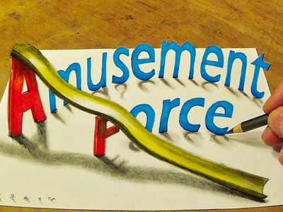 Drawing 3D Letters AmusementForce - 3D Text Art - VamosART