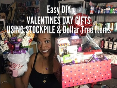 Easy DIY Valentines Day Gifts Using Stockpile Coupon Items and Dollar Tree Items. Retail cost $99.00