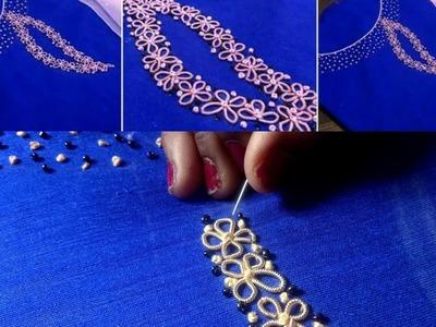 Easy hand embroidery design on kurti.chudidhar with Jardosi & Beads