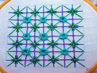 Hand embroidery net stitch design|basic embroidery stitch for beginners