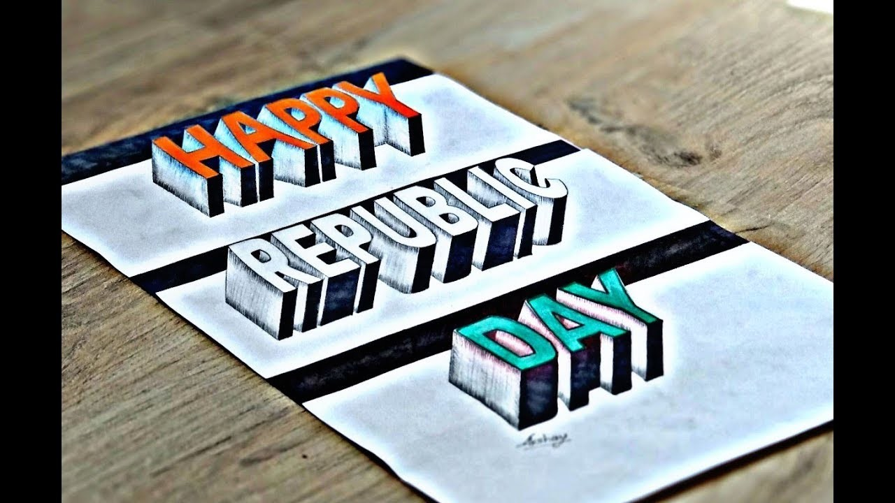 Happy republic day 3d word drawing 3d trick art on paper