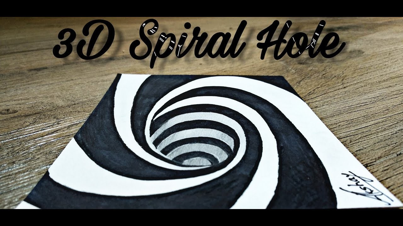 How To Draw A 3D Spiral Hole Drawing - 3D Trick Art On Paper ...