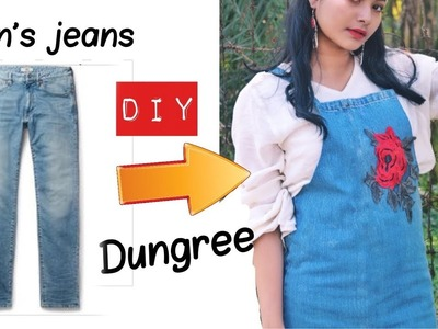 How to make Dungree. overall out of an old jeans || DIY dungree. overall. suspender.