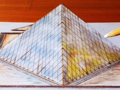 How to make the Louver's Pyramid in Paris 3d illusion | Speed drawing Trick Art