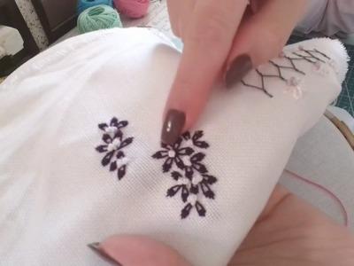 Lazy daisy stitch -hand embroidery تطريز يدوي كلاسيكي