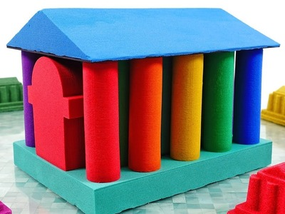 Learn Colors Kinetic Sand Cutting DIY How to make Mad Mattr Rainbow House for Kids