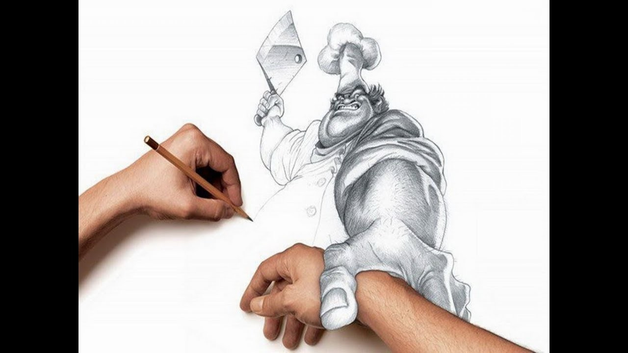 Master chef 3d pencil sketch drawing speed draw sketch art