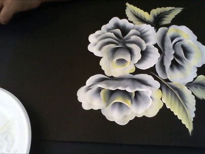 One stroke Painting- White On Black 3D Roses