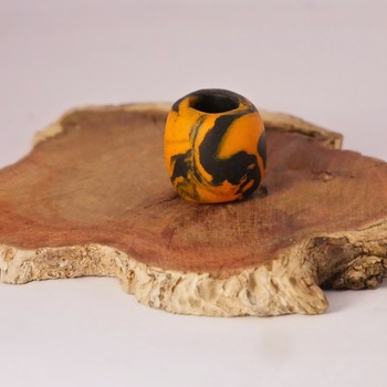 Orange Black Dreadlock Bead Hair Oval Jewellery Dread Accessories Funky Handmade