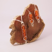 Orange Necklace Earrings Crystal Effect Beads Silver Wire Accessories Handmade