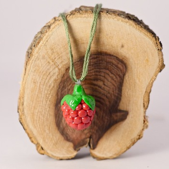 Raspberry Necklace Fruit Cute Pink/Red Green Accessories Handmade Wire Fimo Food