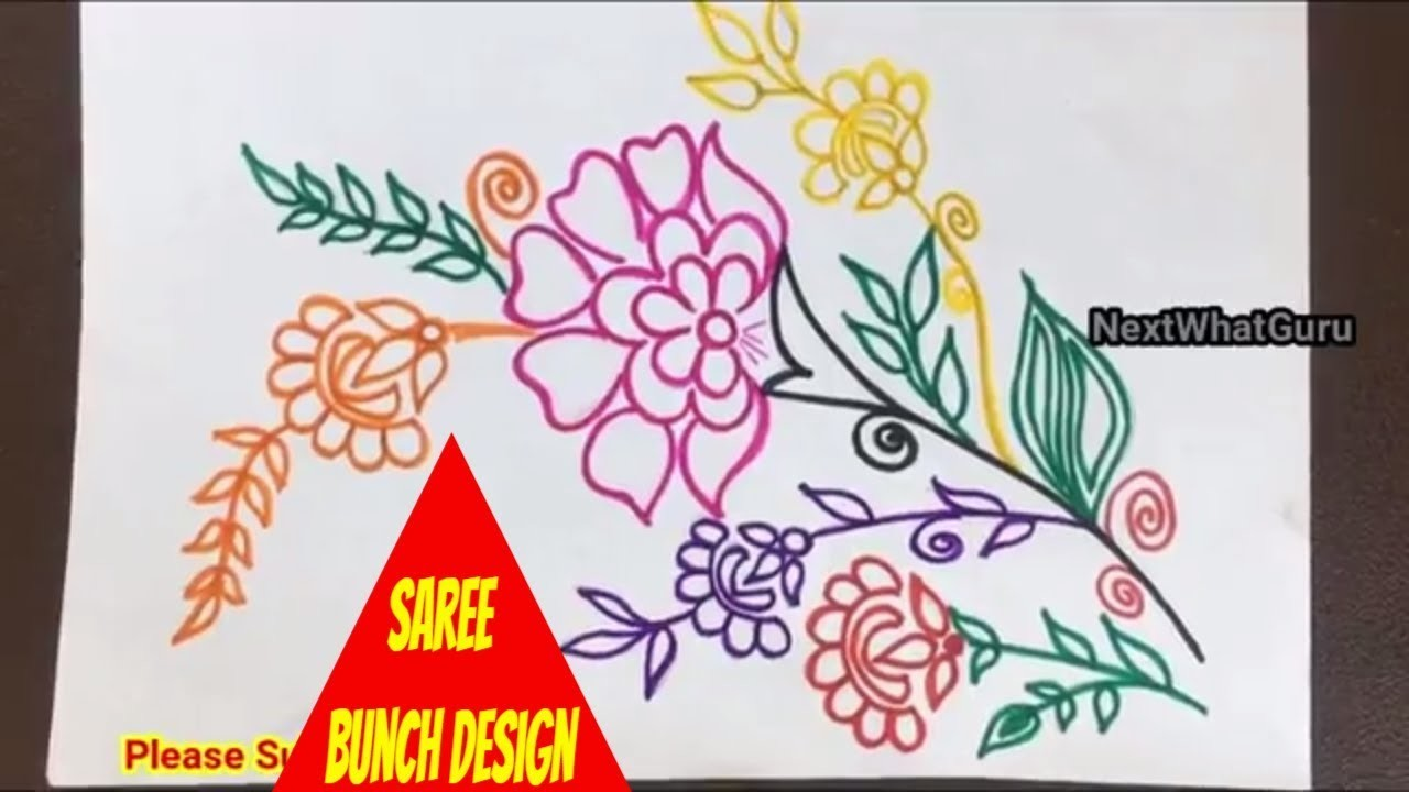 Simple Easy India Saree Border Design Layout Hand Embroidery 2018