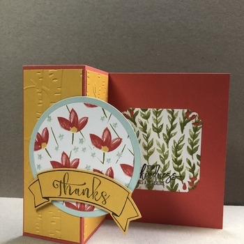 """Thanks"" Embossed Z-fold Watermelon/Yellow Flower Card"