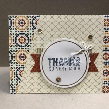 """Thanks"" Moroccan Style Slant Cut Circle"