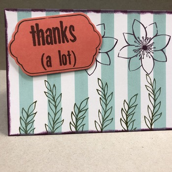 """Thanks"" Teal Vertical Stripes Floral"
