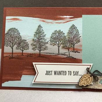 """""""Thanks"""" Watercolored Tree on Mint (Thanks - inside)"""