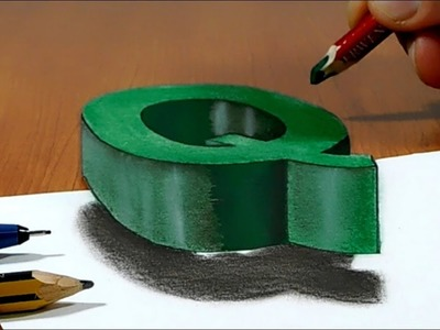Try to do 3D Trick Art on Paper, floating letter Q, Long Version