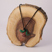 Worm Mushroom Necklace Green Wildlife Accessories Handmade Fimo Nature Brown