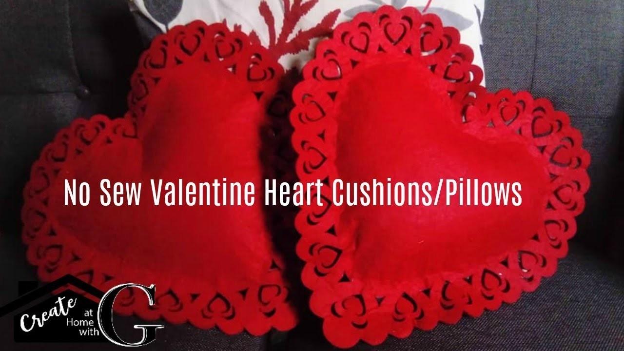 (£1) Poundland Craft:No Sew Valentine Heart Cushions || Pillows