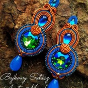 Blue cognac statement soutache earrings