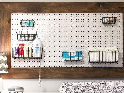 DIY Pegboard Organizer for a Nursery (or any room!)