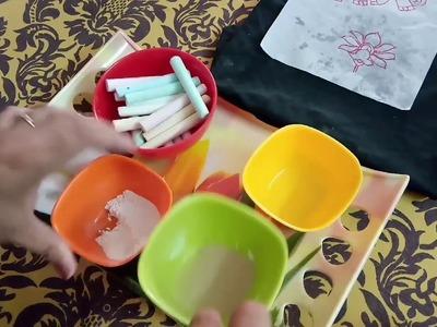 Fabric painting-3 Tracing on dark fabric