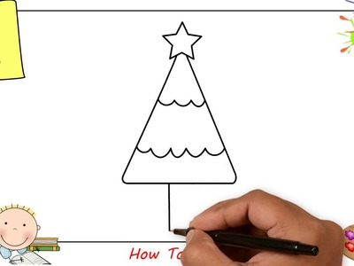 How to draw a christmas tree EASY step by step for kids, beginners, children 2