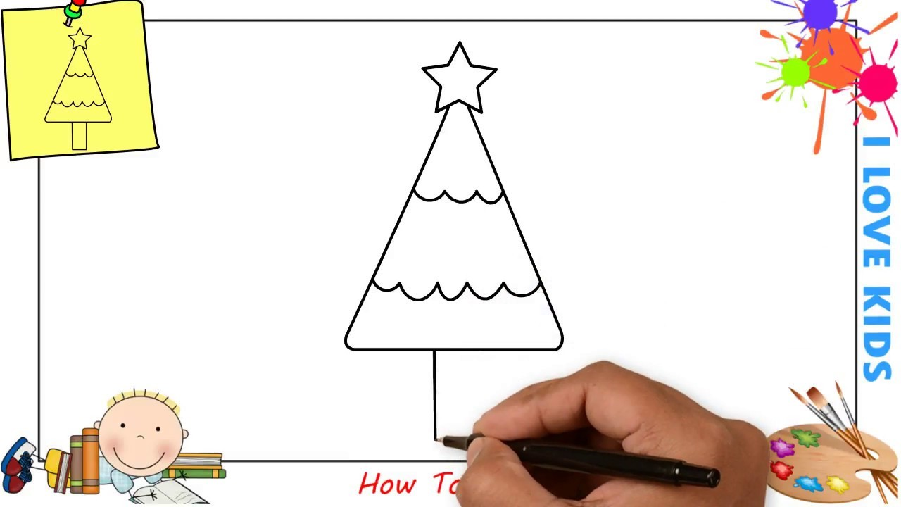 How To Draw A Christmas Tree Easy Step By Step For Kids Beginners
