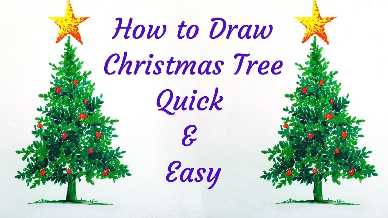 How To Draw A Realistic Christmas Tree.How To Draw Christmas Tree Realistic Easy Quick Live