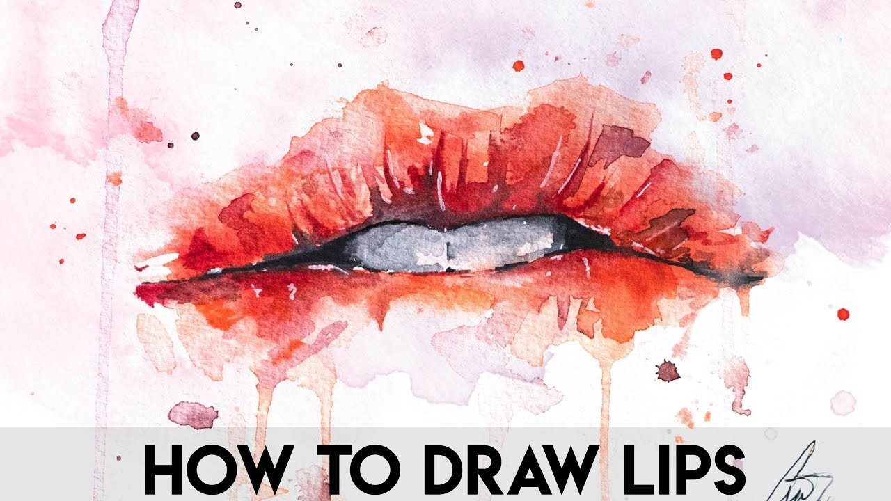 How To Draw Lips For Begginers Easy Watercolors Lips